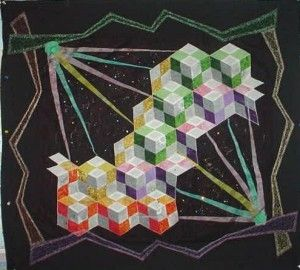 "Quilt by Ann from on-line class ""More Patchwork Illusions"""